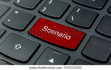 Business Concept: Close-up the Scenario button on the keyboard and have Red color button isolate black keyboard - stock photo