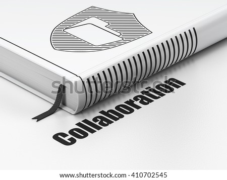 Business concept: closed book with Black Folder With Shield icon and text Collaboration on floor, white background, 3D rendering