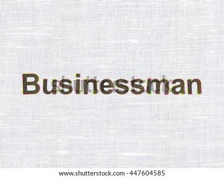 Business concept: CMYK Businessman on linen fabric texture background