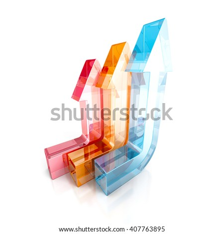 Business concept. Colorful arrows on a white background. 3d render illustration - stock photo