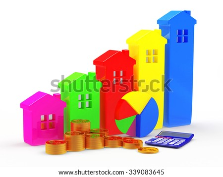 Business concept. Colorful houses in the form of a graphs, pie chart, calculator and stacks of coins isolated on white background