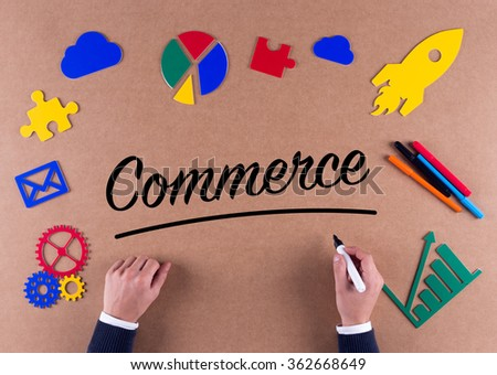 Business Concept-Commerce word with colorful icons