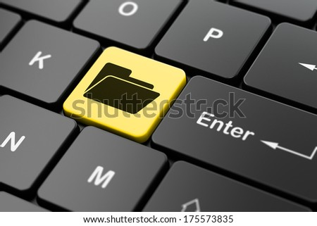 Business concept: computer keyboard with Folder icon on enter button background, 3d render - stock photo