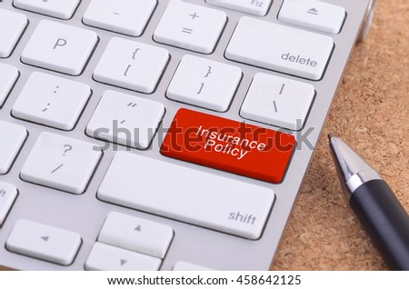 Business concept: computer keyboard  with Insurance Policy word on enter button background, 3d render and copyspace area - stock photo