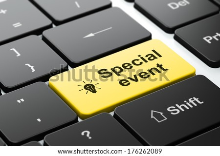 Business concept: computer keyboard with Light Bulb icon and word Special Event, selected focus on enter button, 3d render - stock photo
