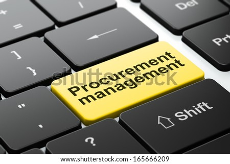 Business concept: computer keyboard with word Procurement Management, selected focus on enter button background, 3d render - stock photo