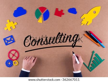 Business Concept-Consulting word with colorful icons