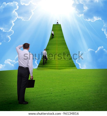 Business concept.Corporate ladder - stock photo