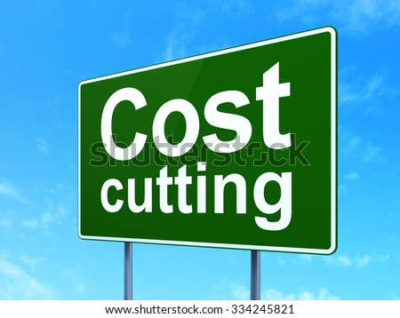 Business concept: Cost Cutting on green road (highway) sign, clear blue sky background, 3d render