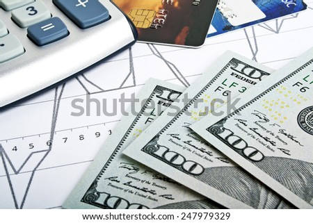Business concept - credit cards, calculator and money - stock photo