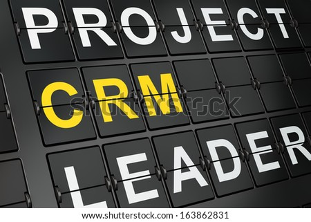 Business concept: CRM on airport board background, 3d render