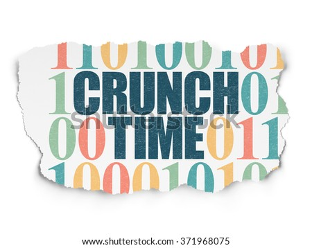 Business concept: Crunch Time on Torn Paper background - stock photo