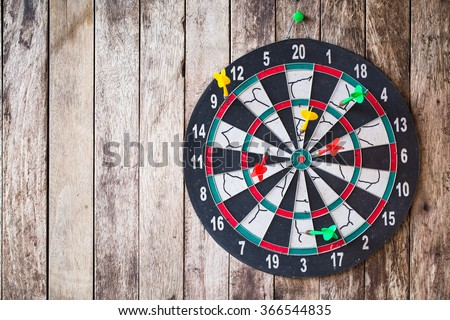 Business concept. darts arrows in the target center - stock photo