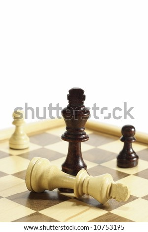 Business concept Defeat in chess battle. - stock photo