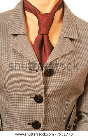 business concept, detail of a business woman suit with a tie - stock photo