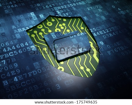 Business concept: digital screen with icon Folder With Shield, 3d render