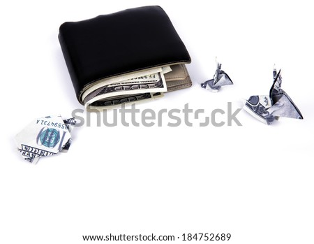 Business concept : Dollar currency origami  rabbit and  turtle with old black wallet on the white background - stock photo