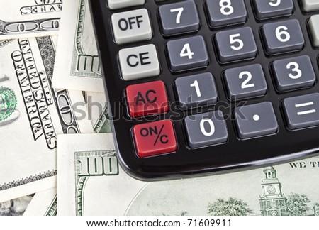 Business concept. Dollars; calculator; - stock photo
