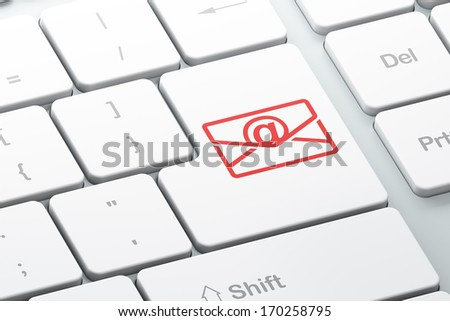 Business concept: Enter button with Email on computer keyboard background, 3d render - stock photo
