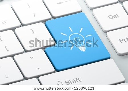 Business concept: Enter button with Light Bulb on computer keyboard, 3d render - stock photo