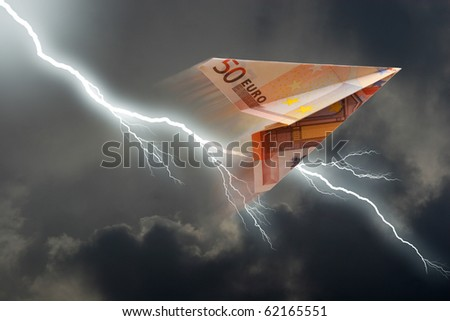 business concept. euro plane and  thunderstorm - stock photo