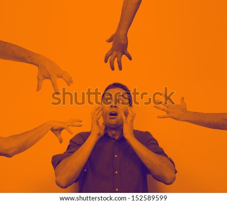 Business concept: fear of failure and loss and also others trying to take your business  - stock photo