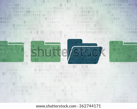 Business concept: folder icon on Digital Paper background - stock photo