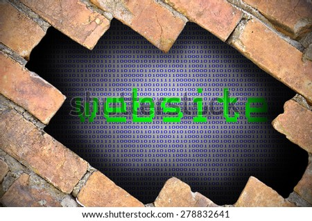Business Concept For Data Security - Hole In Brick Wall With Binary Digit Background Inside With website Word.  - stock photo