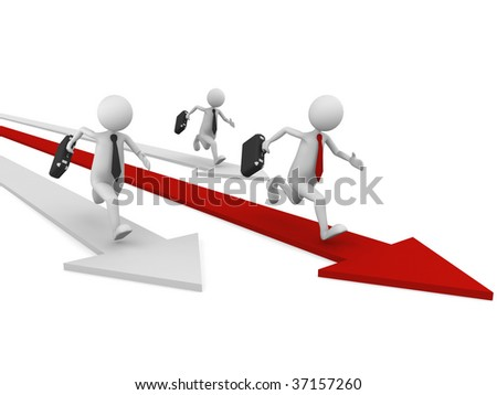 Business concept for depicting competition in economy or business area - stock photo
