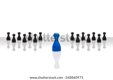 Business concept for leader team, leadership, step forward. Line grouped small black pawn figures, one red in front, gradient surface. Isolated on white background. Copy space, room for text. - stock photo