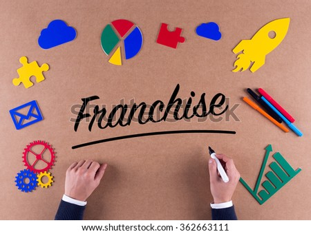 Business Concept-Franchise word with colorful icons