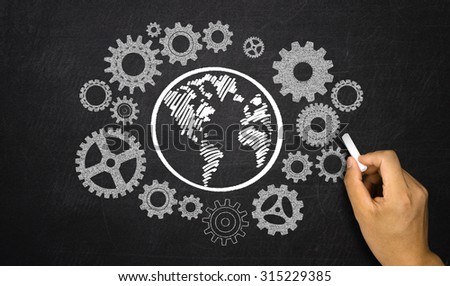 business concept: gears around earth - stock photo