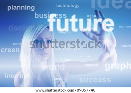 Business concept - girl with screen - stock photo