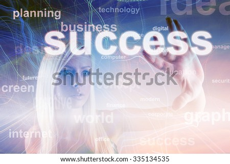 Business concept - girl with screen and success sign - stock photo