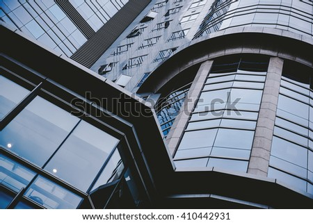 Business concept - glass building in detail - stock photo
