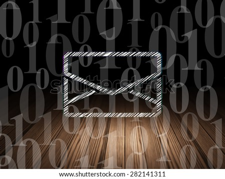 Business concept: Glowing Email icon in grunge dark room with Wooden Floor, black background with  Binary Code, 3d render - stock photo