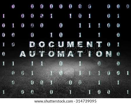 Business concept: Glowing text Document Automation in grunge dark room with Dirty Floor, black background with Binary Code