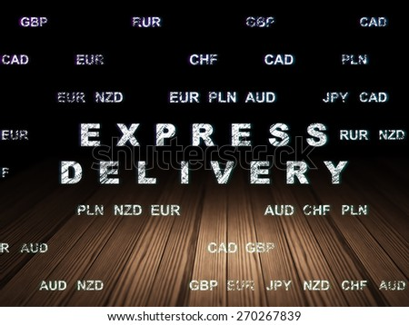 Business concept: Glowing text Express Delivery in grunge dark room with Wooden Floor, black background with Currency, 3d render