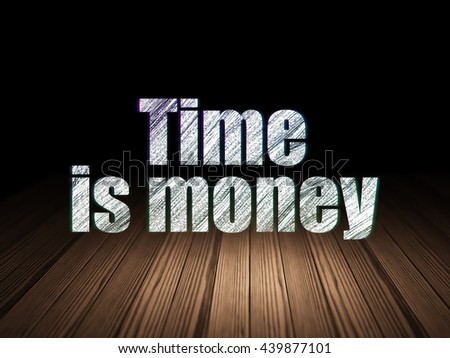 Business concept: Glowing text Time Is money in grunge dark room with Wooden Floor, black background