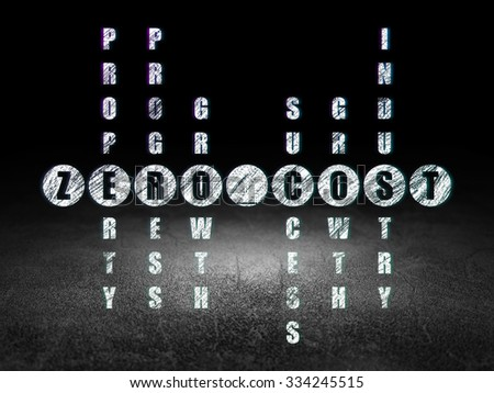 Business concept: Glowing word Zero cost in solving Crossword Puzzle in grunge dark room with Dirty Floor, black background - stock photo