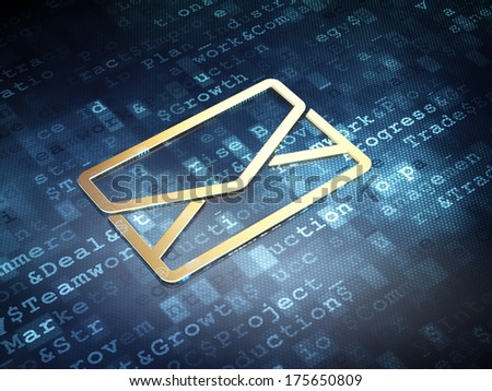 Business concept: Golden Email on digital background, 3d render