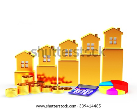 Business concept. Golden Houses on the chart, pie chart, calculator and stacks of coins isolated on white background