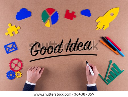 Business Concept-Good Idea word with colorful icons - stock photo