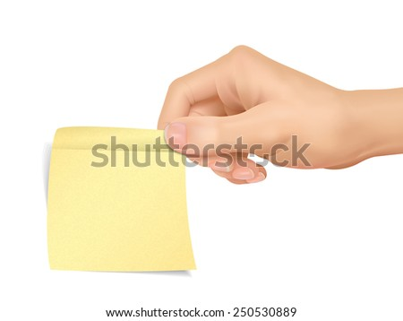 business concept: hand holding a sticky note over white background