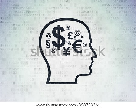 Business concept: Head With Finance Symbol on Digital Paper background