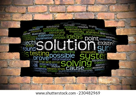 Business Concept - Hole in The Brick Wall Fill With Word Cloud Of Solution And Its Related Words. - stock photo