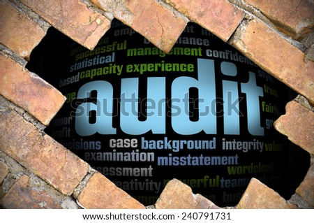 Business Concept - Hole In The Brick Wall Reveal Word Cloud Of Audit And Its Related Words  - stock photo