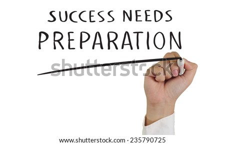 Business concept image of a hand holding marker and write Success Needs Preparation words isolated on white