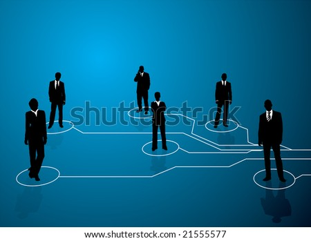 Business concept image showing links between people with a blue background