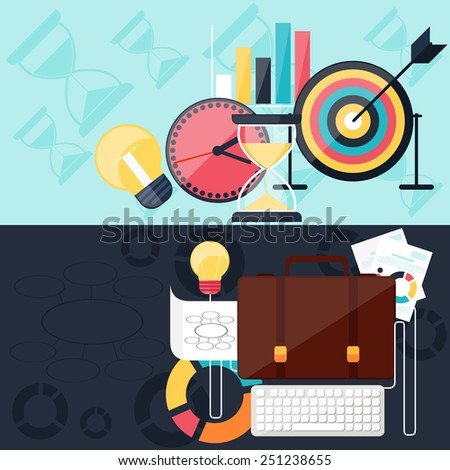 Business concept in flat design for project and time management with idea, timing and business symbols. Raster version - stock photo